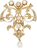 Estate Jewelry:Brooches - Pins, Diamond, Seed Pearl, Cultured Pearl, Gold Pendant-Brooch. ...