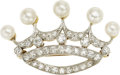 Estate Jewelry:Brooches - Pins, Cultured Pearl, Diamond, Platinum-Topped Gold Brooch. ...