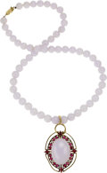 Estate Jewelry:Necklaces, Lavender Jade, Ruby, Diamond, Gold Pendant-Necklace. ...