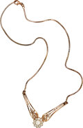 Estate Jewelry:Necklaces, Diamond, Cultured Pearl, Pink Gold Necklace. ...
