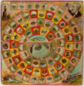 Books:Children's Books, [Games]. [Jules Verne]. Game Board for Round the World withNellie Bly [n.d., ca. 1890's]. Approximately 15.75 x 15....
