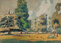 Fine Art - Work on Paper:Watercolor, CHARLES EPHRAIM BURCHFIELD (American, 1893-1967). SummerGrove. Watercolor and gouache on paper laid on board. 21 x 30i...