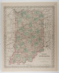 Books:Maps & Atlases, [Maps]. G. W. and C. B. Colton. Colton's Indiana. 1886. Hand-colored map. Mounted on card. Approximately 17.25 x 14 ...