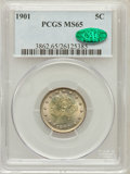 Liberty Nickels: , 1901 5C MS65 PCGS. CAC. PCGS Population (173/39). NGC Census:(160/37). Mintage: 26,480,212. Numismedia Wsl. Price for prob...