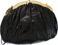 Luxury Accessories:Bags, Judith Leiber Black Snakeskin Gold Frame Large Clutch with ShoulderStrap. ...