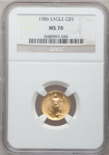Modern Bullion Coins: , 1986 G$5 Tenth-Ounce Gold Eagle MS70 NGC. NGC Census: (344). PCGSPopulation (25). Mintage: 912,609. Numismedia Wsl. Price ...