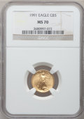Modern Bullion Coins: , 1991 G$5 Tenth-Ounce Gold Eagle MS70 NGC. NGC Census: (122). PCGSPopulation (3). Mintage: 165,200. Numismedia Wsl. Price f...