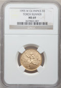 Modern Issues: , 1995-W G$5 Olympic/Torch Runner Gold Five Dollar MS69 NGC. NGCCensus: (270/672). PCGS Population (1453/203). Numismedia W...