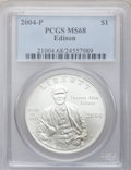 Modern Issues, 2004-P $1 Edison Silver Dollar MS68 PCGS. PCGS Population(34/2756). NGC Census: (24/2521). Numismedia Wsl. Price for prob...