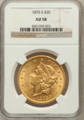 Liberty Double Eagles: , 1875-S $20 AU58 NGC. NGC Census: (1452/975). PCGS Population(454/577). Mintage: 1,230,000. Numismedia Wsl. Price for probl...