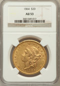 Liberty Double Eagles: , 1864 $20 AU53 NGC. NGC Census: (37/119). PCGS Population (19/74).Mintage: 204,285. Numismedia Wsl. Price for problem free ...