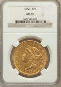 Liberty Double Eagles: , 1856 $20 AU55 NGC. NGC Census: (55/64). PCGS Population (11/39).Mintage: 329,878. Numismedia Wsl. Price for problem free N...