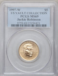 Modern Issues, 1997-W G$5 Jackie Robinson Gold Five Dollar MS69 PCGS. Ex: US VaultCollection. PCGS Population (898/46). NGC Census: (456/...