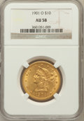 Liberty Eagles: , 1901-O $10 AU58 NGC. NGC Census: (105/275). PCGS Population(61/297). Mintage: 72,041. Numismedia Wsl. Price for problem fr...