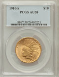 Indian Eagles: , 1910-S $10 AU58 PCGS. PCGS Population (379/593). NGC Census:(597/452). Mintage: 811,000. Numismedia Wsl. Price for problem...