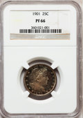 Proof Barber Quarters: , 1901 25C PR66 NGC. NGC Census: (29/32). PCGS Population (19/10). Mintage: 813. Numismedia Wsl. Price for problem free NGC/P...