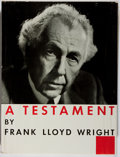 Books:Art & Architecture, Frank Lloyd Wright. A Testament. Horizon, 1957. First edition, first printing. Mild toning to pages with tape sh...