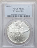 Modern Issues: , 1995-D $1 Olympic/Gymnastics Silver Dollar MS60 PCGS. PCGSPopulation (1/2184). NGC Census: (0/1374). Numismedia Wsl. Pric...