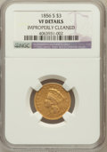 Three Dollar Gold Pieces: , 1856-S $3 -- Improperly Cleaned -- NGC Details. VF. NGC Census:(6/478). PCGS Population (16/366). Mintage: 34,500. Numisme...