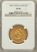 Liberty Eagles, 1854-O $10 Small Date XF40 NGC. Variety 1....