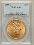 Liberty Double Eagles: , 1877-S $20 MS61 PCGS. PCGS Population (431/277). NGC Census:(673/171). Mintage: 1,735,000. Numismedia Wsl. Price for probl...