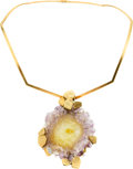 Estate Jewelry:Necklaces, Amethyst, Diamond, Gold Pendant-Necklace, Andrew Grima, London. ...