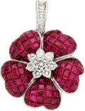 Estate Jewelry:Pendants and Lockets, Ruby, Diamond, White Gold Pendant . ...