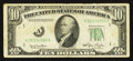 Error Notes:Obstruction Errors, Fr. 2010-A $10 1950 Narrow Federal Reserve Note. Fine-Very Fine.....