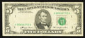 Error Notes:Obstruction Errors, Fr. 1974-A $5 1977 Federal Reserve Note. Very Fine.. ...