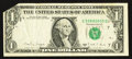 Error Notes:Foldovers, Fr. 1915-G $1 1988A Federal Reserve Note. Very Fine.. ...
