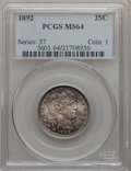 Barber Quarters: , 1892 25C MS64 PCGS. PCGS Population (319/241). NGC Census:(347/267). Mintage: 8,237,245. Numismedia Wsl. Price for problem...
