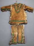 American Indian Art:Beadwork and Quillwork, A NORTHERN PLAINS BEADED HIDE DOLL OUTFIT ...