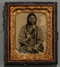 American Indian Art:Photographs, A TINTYPE OF A SOUTHERN PLAINS WARRIOR...