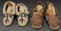 American Indian Art:Beadwork and Quillwork, TWO PAIRS OF PLAINS CHILD'S BEADED HIDE MOCCASINS . c. 1900... (Total: 2 Pair)