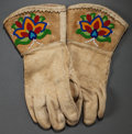 American Indian Art:Beadwork and Quillwork, A PAIR OF PLATEAU BEADED HIDE GAUNTLETS...