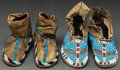 American Indian Art:Beadwork and Quillwork, TWO PAIRS OF PLAINS CHILD'S BEADED HIDE MOCCASINS. c. 1890...(Total: 2 Pair)
