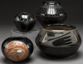 American Indian Art:Pottery, FOUR SAN ILDEFONSO BLACKWARE JARS. Various Artists. c. 1950 -1975... (Total: 4 Items)