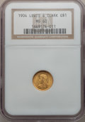 Commemorative Gold: , 1904 G$1 Lewis and Clark MS62 NGC. NGC Census: (147/900). PCGSPopulation (242/1422). Mintage: 10,025. Numismedia Wsl. Pric...
