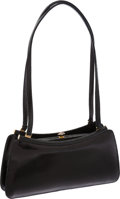 Luxury Accessories:Bags, Judith Leiber Black Lizard Shoulder Bag with Stone Clasp. ...