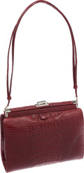 Luxury Accessories:Bags, Judith Leiber Bordeaux Matte Crocodile Bag. ...