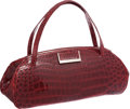 Luxury Accessories:Bags, Tardini Deep Rouge Crocodile Long Shoulder Bag. ...