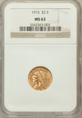 Indian Quarter Eagles: , 1915 $2 1/2 MS63 NGC. NGC Census: (1663/1463). PCGS Population(1079/871). Mintage: 606,000. Numismedia Wsl. Price for prob...