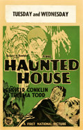 """Movie Posters:Horror, The Haunted House (First National, 1928). Window Card (14"""" X 22"""").. ..."""