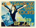 "Movie Posters:Romance, Today We Live (MGM, 1933). Half Sheet (22"" X 28"").. ..."