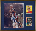 Basketball Collectibles:Photos, Julius Dr. J Erving Signed Photograph, 1972 Topps Rookie Card, etc.Display....