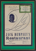 Boxing Collectibles:Autographs, Jack Dempsey Signed Menu....