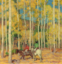 E. MARTIN HENNINGS (American, 1886-1956) Indian Hunters Oil on artists' board 14 x 14 inches (35