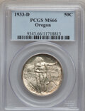 Commemorative Silver: , 1933-D 50C Oregon MS66 PCGS. PCGS Population (377/77). NGC Census:(252/36). Mintage: 5,008. Numismedia Wsl. Price for prob...