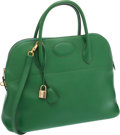 Luxury Accessories:Bags, Hermes 37cm Vert Clair Courchevel Leather Bolide Bag with GoldHardware. ...