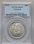 Commemorative Silver: , 1935 50C Arkansas MS65 PCGS. PCGS Population (499/167). NGC Census:(390/95). Mintage: 13,012. Numismedia Wsl. Price for pr...